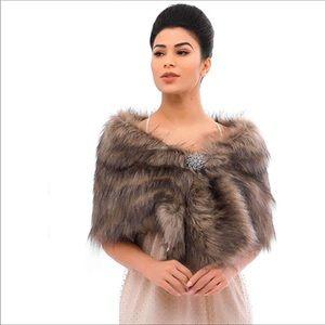 Shawls and Wraps Wedding Faux Fox Fur Stole Bridal